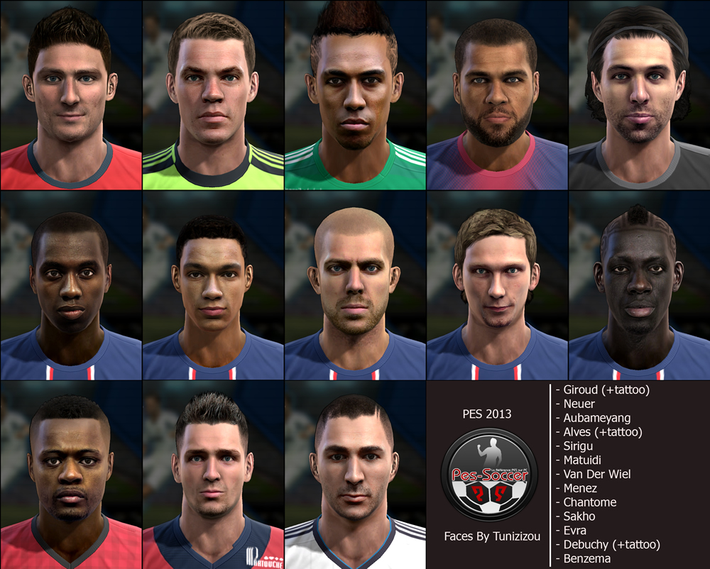 FacePack vol 1 PES 2013 by Tunizizou
