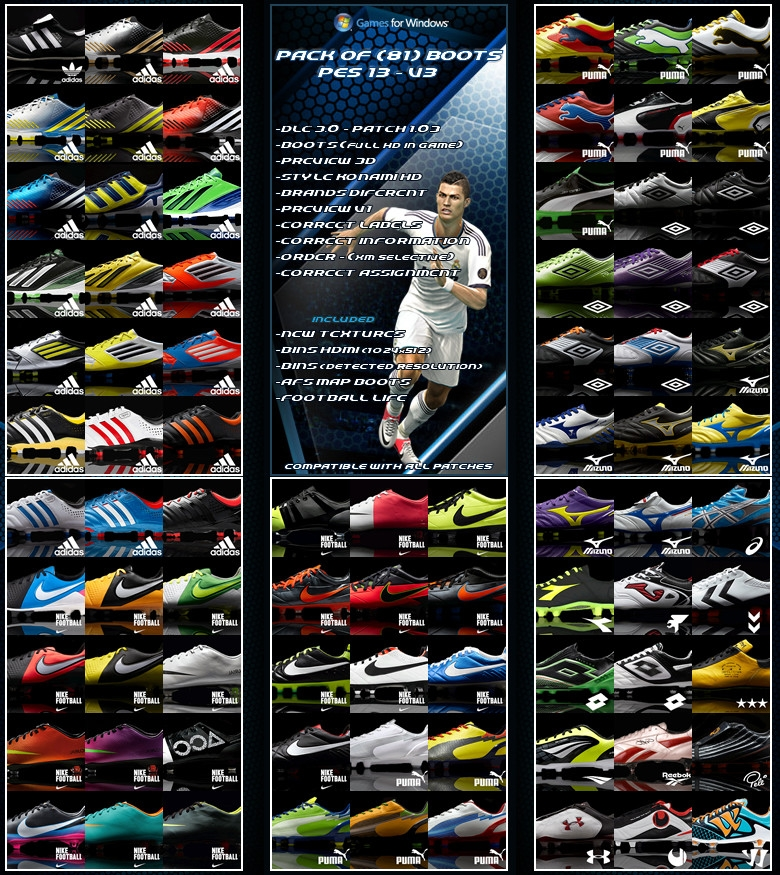 Pack of (81) Boots V3 Full HD для PES 2013