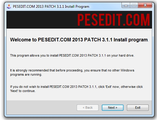 PESEdit.com 2013 Patch Fix 3.1.1